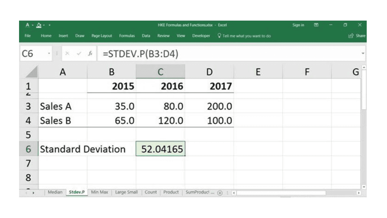 statistical functions in excel