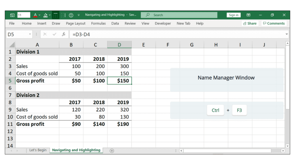 naming cells in excel