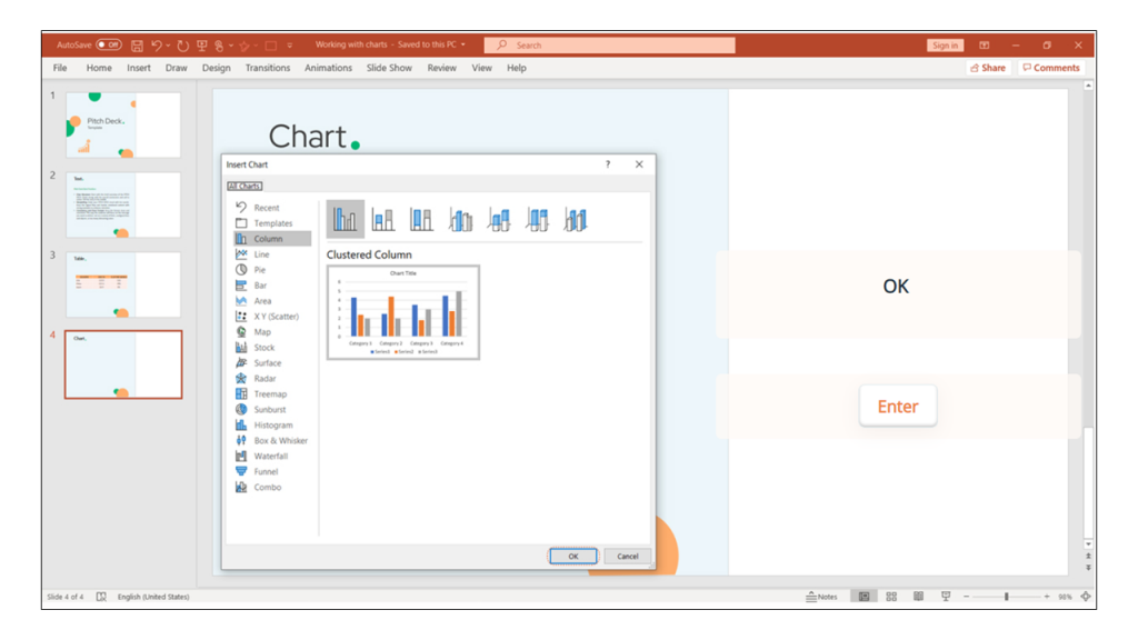 charts in PowerPoint