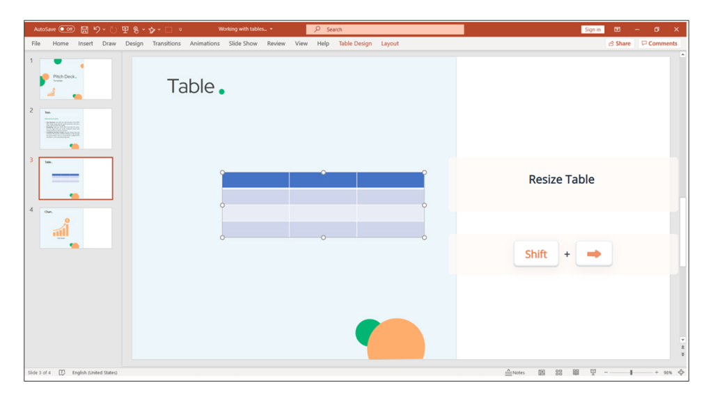 tables in PowerPoint