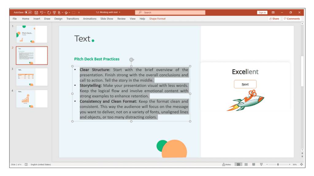text in PowerPoint